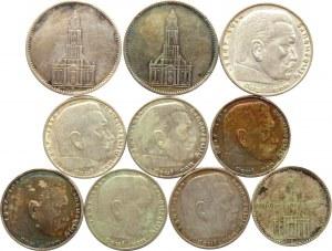 Niemcy, III Rzesza, lot 2- 5- markówek, 10 sztuk, różne mennice