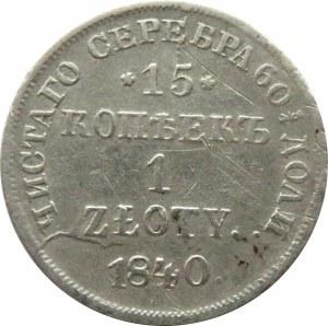 Mikołaj I, 15 kopiejek/1 złoty 1840 HG, Petersburg
