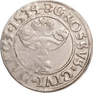 Zygmunt I Stary, grosz 1534, Gdańsk, bardzo ładny