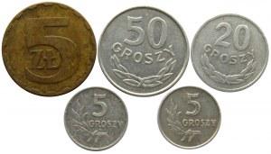 Polska, PRL, destrukty-skrętki, lot 5 monet