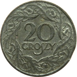Polska, GG, destrukt 20 groszy 1923, końcówka blachy, piękne!