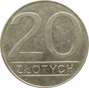 Polska, PRL, 20 złotych 1987 - destrukt, mennicze wykruszenie krążka