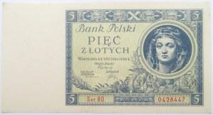 Polska, II RP, 5 złotych 1930, seria BO, UNC-