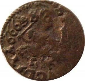 Jan II Kazimierz, szeląg (boratynka) 1666, przebitka obustronna