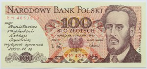 Polska, PRL, 100 złotych 1988, seria RM, okolicznościowy nadruk, podpisy