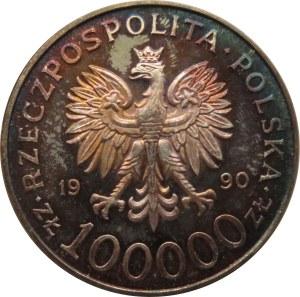 Polska, III RP 100000 złotych 1990, 10 lat Solidarności, menniczy egzemplarz w cudnej patynie