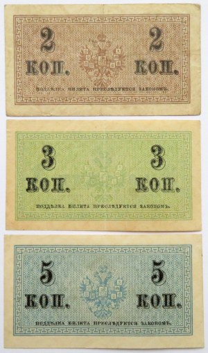 Rosja, Mikołaj II, lot kopiejek (2,3,5) 1915