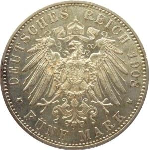 Niemcy, Wirtembergia, Wilhelm II, 5 marek 1908 F, Stuttgart, PIĘKNE