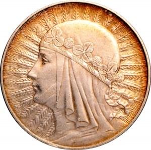 Polska, II RP, głowa kobiety, 10 złotych 1932, ze znakiem mennicy, Warszawa, UNC