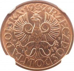 Polska, II RP, 2 grosze 1937, Warszawa, NGC MS66RD - 2 MAX