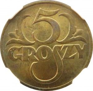 Polska, II RP, 5 groszy 1923, Warszawa, NGC MS64