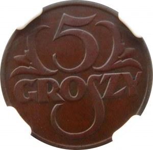 Polska, II RP, 5 groszy 1925, Warszawa, NGC AU58 BN