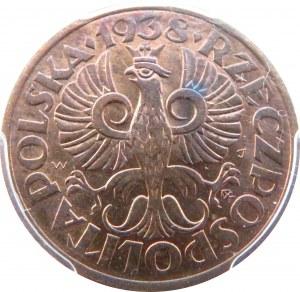 Polska, II RP, 2 grosze 1938, Warszawa, PCGS MS64 RB