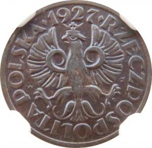 Polska, II RP, grosz 1927, Warszawa, NGC MS63 BN