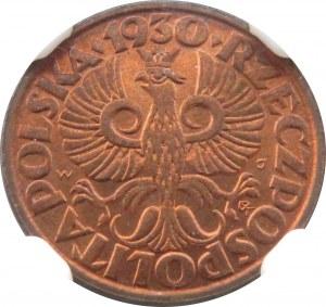 Polska, II RP, grosz 1930, Warszawa, NGC MS66 RD - 2 MAX