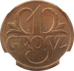 Polska, II RP, grosz 1938, Warszawa, NGC MS66 RB