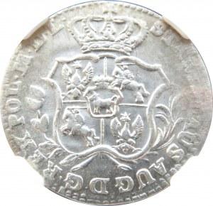 Stanisław A. Poniatowski, 2 grosze srebrne (półzłotek) 1766 F.S., NGC MS62