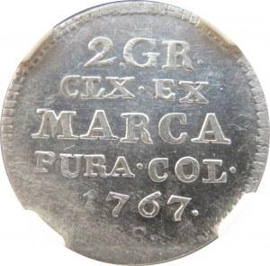 Stanisław A. Poniatowski, 2 grosze srebrne (półzłotek) 1767 F.S., NGC MS62