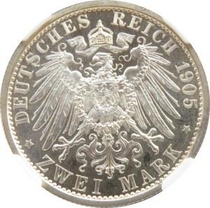 Niemcy, Schwarzburg-Sonderhausen, Karl 2 marki 1909, Berlin, PCGS PF67 CAMEO