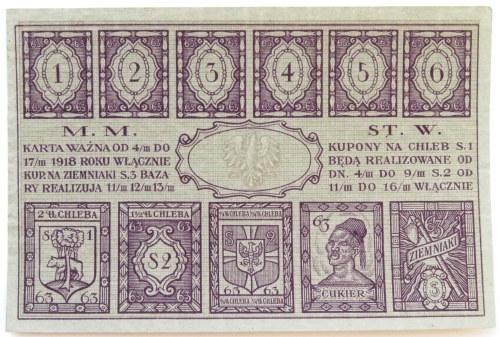 Polska, II RP, Warszawa, karta żywnościowa 1918, UNC
