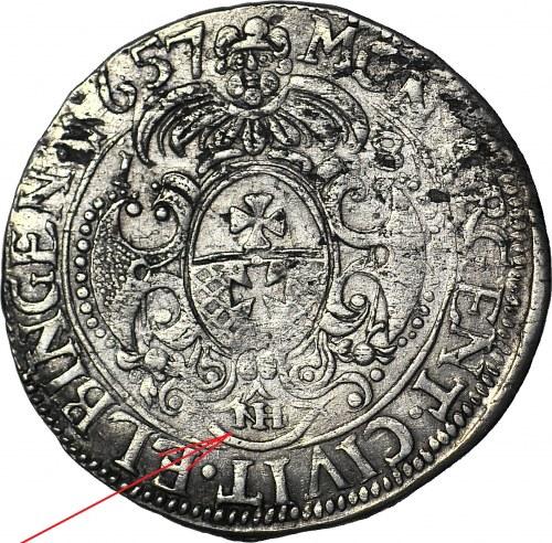 RRR-, Karol X Gustaw, Ort Elbląg 1657, OZDOBNiKI W LEGENDZIE, b. rzadki