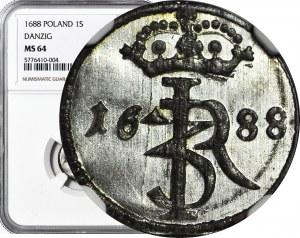 R-, Jan III Sobieski, Szeląg 1688, Gdańsk, wyśmienity