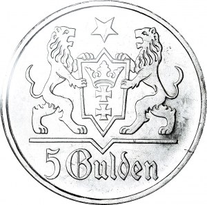 RR-, WMG, 5 guldenów 1923, STEMPEL LUSTRZANY