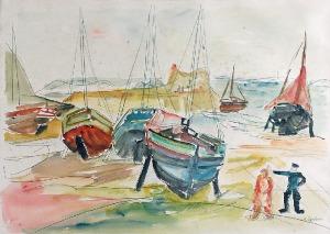 Henryk EPSTEIN (1890-1944), Łodzie rybackie nad brzegiem morza
