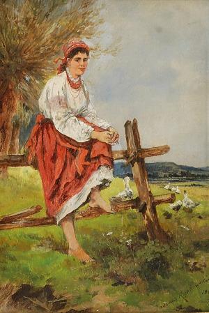 Tadeusz RYBKOWSKI (1848-1926), Wiejska dziewczyna, ok. 1885