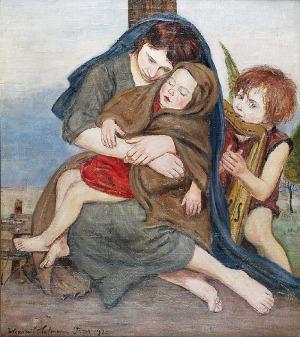 Wlastimil HOFMAN (1881-1970), Macierzyństwo - Madonna z Dzieciątkiem i muzykującym aniołkiem, 1920