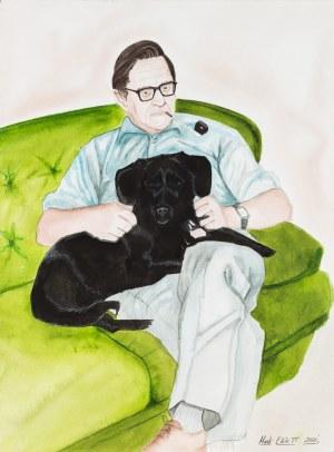 Mark Elliott Portret z psem i fajką, 2000