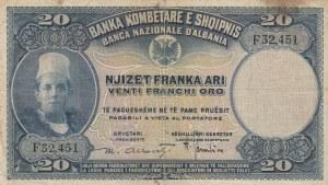 Albania , 20 Franka, 1926, FINE, p3a
