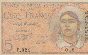 Algeria, 5 Francs, 1944, VF, p94a