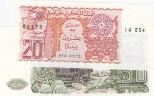 Algeria, 20 Dinars and 50 Dinars, 1977/1983, UNC, p133, p130,