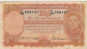 Australia, 10 Shillings, 1939-52, VF, p25b