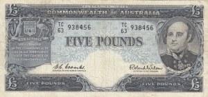 Australia, 5 Pounds, 1960/1965, VF, p35a
