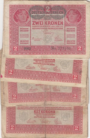 Austria - Hungary, 2 Krona, 1922, FINE,  Total 19 banknotes