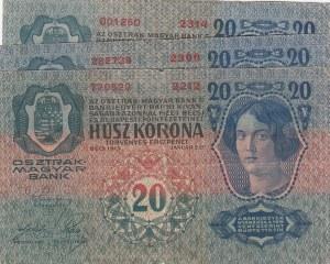 Austria, 20 Kronen, 1913,  p13, Total 3 banknotes