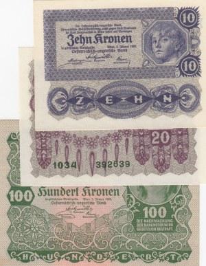 Austria, 10-20-100 Kronen , 1922,