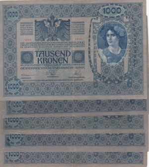 Austria, 1.000 Krone, 1902, Different conditions between FINE and VF, p8b, Total 5 banknotes