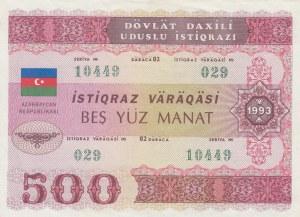 Azerbaijan, 500 Manat, 1993, AUNC(-), p13B, Government Bond