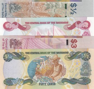 Bahamas, 50 Cents (2) and 3 Dollars (2), 1984/2018, UNC,  (Total 4 banknotes)