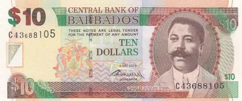 Barbados, 10 Dollars, 2012, UNC, p68c