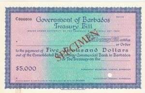 Barbados, 5.000 Dolar,  UNC,  SPECIMEN