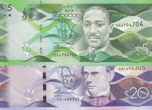 Barados, 5 Dollars and 20 Dollars, 2017, UNC, p74, p76, (Total 2 banknotes)