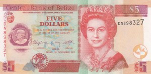 Belize, 5 Dollars, 2011, UNC, p67e