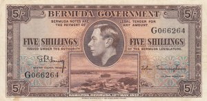 Bermuda, 5 Shillings, 1937, VF (+), p8a