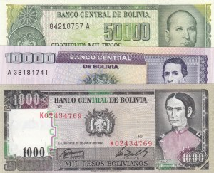 Bolivia, 1.000 Pesos Bolivianos, 10.000 Pesos Bolivianos and 50.000 Pesos Bolivianos, 1982/1984, UNC, p167, p169, p170, (Total 3 banknotes)