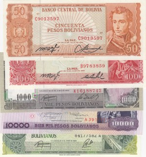 Bolivia, 50 Bolivianos, 100 Bolivianos, 1.000 Bolivianos, 10.000 Bolivianos and 50.000 Bolivianos, 1982/1984, UNC,  (Total 5 banknotes)