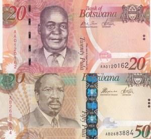 Botswana, 20 Pula, 50 Pula, 2009, 2014, UNC, p31a, p32c